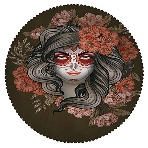 iPrint American Round Tablecloth [ Day of The Dead,Spanish Woman with Festive Calavera Makeup Art and Flower Blooms Decorative,Army Green Salmon ] Decorative Ideas