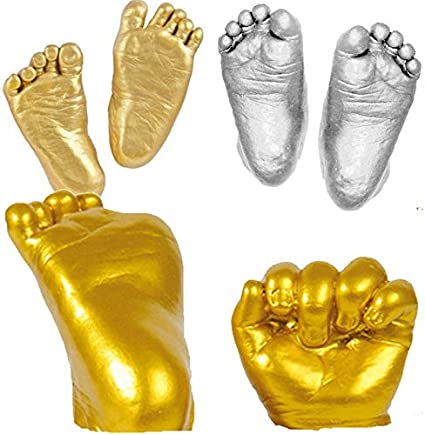 1 Set 3D Plaster Handprints Footprints Baby Hand Foot Casting Mini Kit Gifts Gold 7h0003 Hand 3D Model Printer Scanner Hand Anatomy Muscle Craft Supplies Capsicum Baby Hand Cast Ey
