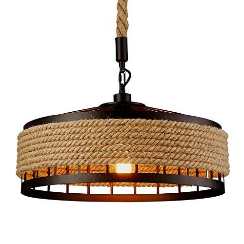 COCOL Lampara Colgante de luz de Techo, lampara de Techo de canamo Industrial Retro Lampara Colgante de lampara de Cuerda de Metal Lampara de salon Comedor Bar Balcon/No Incluido Bombillas