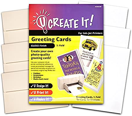 Amazon u create it gloss finish printable greeting cards amazon u create it gloss finish printable greeting cards half fold 30 pack photo quality cards office products m4hsunfo