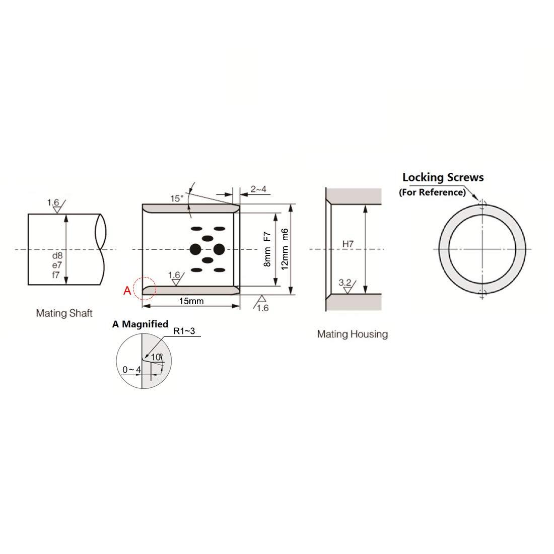 sourcing map Rodamientos baleros cojinetes lisos de,18mm de di/ámetro x 20mm di/ámetro exterior x 20mm de longitud envuelto sin aceite casquillo