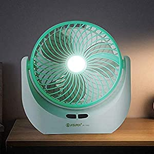 KWT Powerful Rechargeable Table Fan with LED Light, Table Fan for Home, Table Fans, Table Fan for Office Desk, Table Fan High Speed, Table Fan For Kitchen- (Multi)
