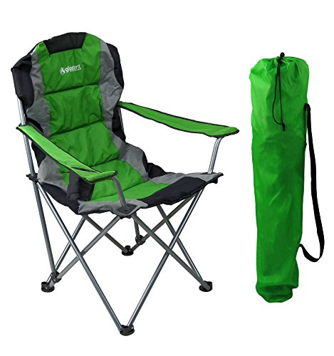 GigaTent Green Folding Camping Chair – Ultra Lightweight Collapsible Quad Padded Lawn Seat with Full Back, Arm Rests, Cup Holder and Shoulder Strap Carrying Bag – Powder Coated Steel Frame - Back Padded Folding Chair
