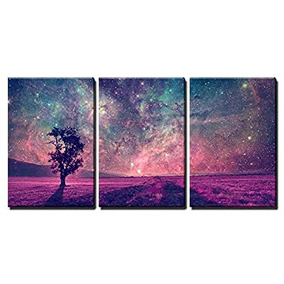 Unbelievable Artistry, Professional Creation, Red Alien Landscape with Alone Tree Silhouette in Purple Field x3 Panels
