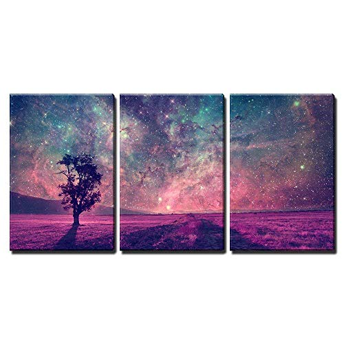 - wall26 - 3 Piece Canvas Wall Art - Red Alien Landscape with Alone Tree Silhouette in Purple Field - Modern Home Decor Stretched and Framed Ready to Hang - 24