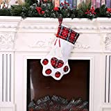 Tuscom Merry Christmas Fish Bone Cat Claw Socks Creative Candy Bag,for Christmas Tree Hanging Gift Decoration,28x46cm(2 Colors) (Red)