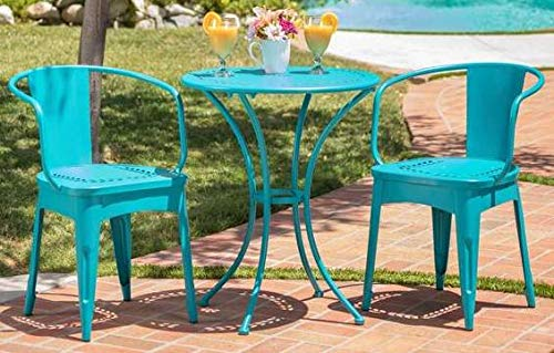 Luca Outdoor- Sunroom Furniture- Out Door Patio Furniture- Matte Teal Cast Iron Three Piece Round Set - Great for Summer Barbecues, Garden Parties, and Afternoons Spent Lounging