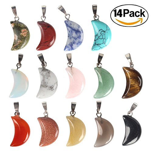 Wholesale 14 PCS Crescent Moon Shaped Charm Natural Stone Pendant with Silver Plated Brass Bail Chakra Healing Point Reiki Charm Bulk for Jewelry (Turquoise Gemstone Necklace Earrings)