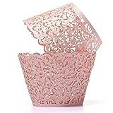 TOOGOO(R)12X Filigree Vine Cake Cupcake Wrappers Wraps Cases Wedding Birthday Decorations Pink