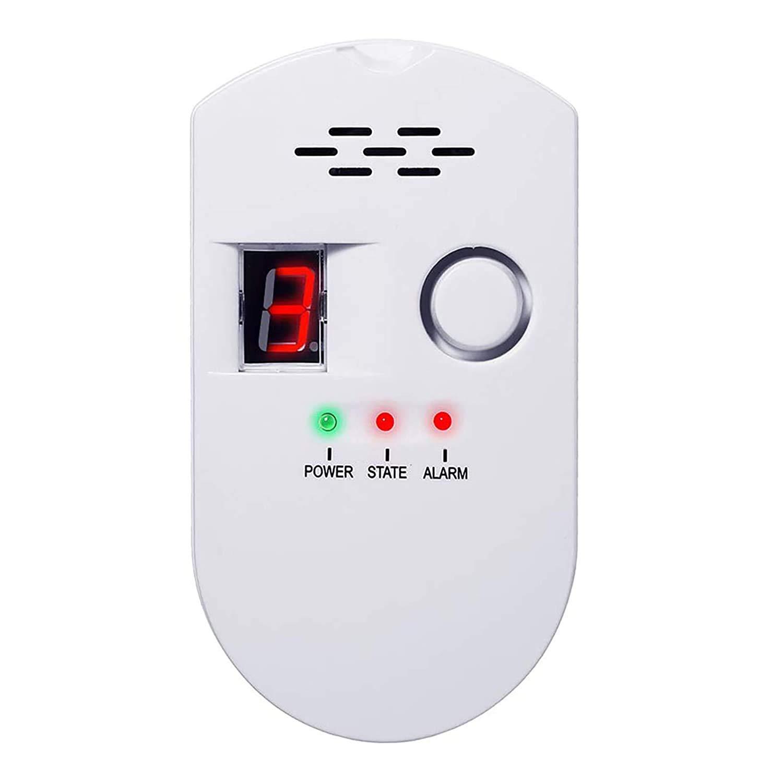 Detector de Gas - Alarma de Gas Detector de Fugas de Gas Natural LPG Propano Detector Gas Autocaravana Sensor Enchufable Monitor de Gas con Alarma Sonora y Pantalla Digital LED
