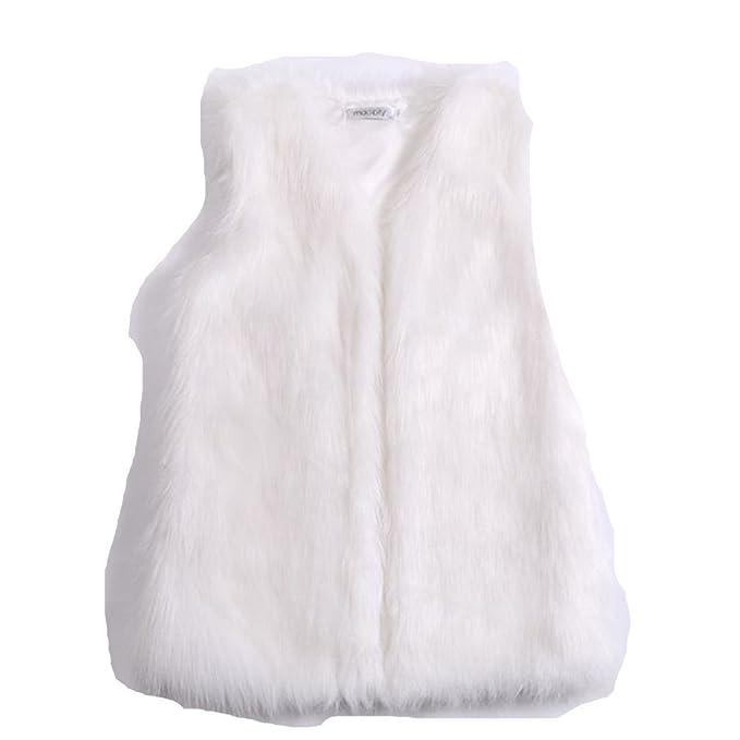 Samber Chaleco de Pelo de Zorra Sintético Chaqueta Mujer Pelo Invierno Abrigos Medio Largo para Mujer: Amazon.es: Ropa y accesorios