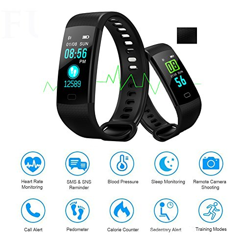 BONNIEWAN Fitness tracker heart rate color screen activity