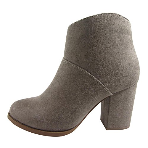 CityClassified FD68 Womens Solid Side Zip Block Heel Ankle Bootie, Color:SMOKY TAUPE