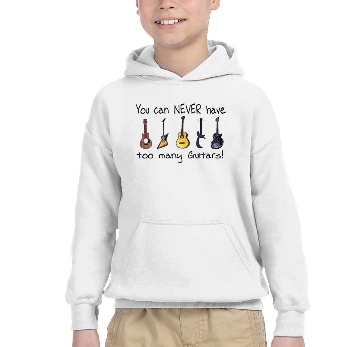 Ainlgchoo! Children'sClassic Hiking Fleece Print Can Never Have Too Many Guitars 2T White by Ainlgchoo!