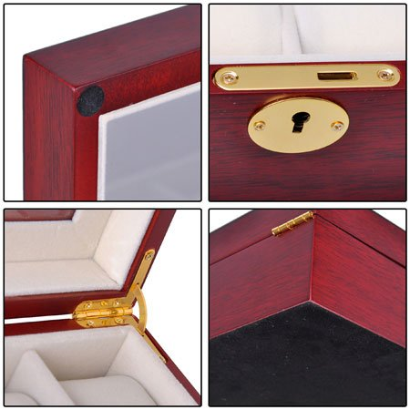 "Rosewood Matte Stain Wooden Glass Top 24 Watch Display Case 17"" L Jewelry Box Lock for Store Home Travel by Generic (Image #4)"