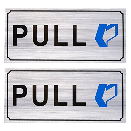Top 2-Pack Pull Signs - Pull Door Outdoor Door Sign for Business and Home Use, Silver - 7.87 x 3.6 Inches