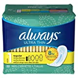 Always Ultra Thin Regular Absorbency Without Wings 22 Pads Ea. - 3 Packs