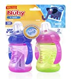Nuby 2-Pack Two-Handle No-Spill Super Spout Grip N Sip Cups, 8 Ounce, Pink and Purple