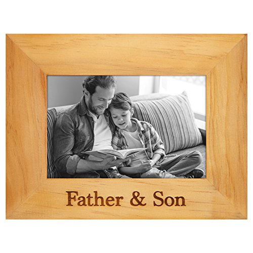 Engraved Wood Frame — Father & Son — Made to Display Photos Sized 4x6