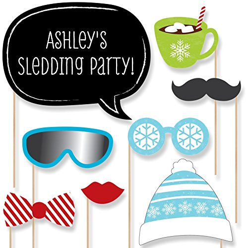 (Big Dot of Happiness Custom Winter Party Photo Booth Props Kit - Personalized Hot Chocolate and Snow Party Supplies - 20 Selfie Props)