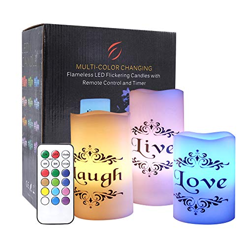 Love Pillar Candle - Eldnacele Set of 3 Color Changing Candles Battery Operated Flickering Flameless Pillar Candles Multi Coloredwith Remote Control Timer - Live, Love, Laugh Decal Decorative Candles (D3 x H4 5