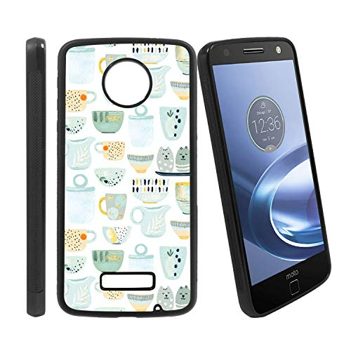 [Ceramic Kitchen Utensils or Crockery - Cups] Compatible with Motorola Z Play/Z Play Droid/Moto Z Force/Z Force Droid, Non-Slip Soft Rubber Side & Hard Back Case Cover Shell Skin ()