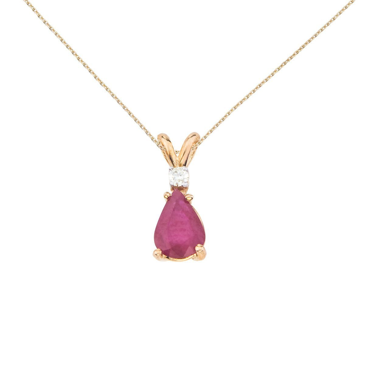 0.7 Cttw. FB Jewels Solid 14k Yellow Gold Genuine Birthstone Pear Shaped Gemstone and Diamond Oval Pendant