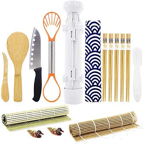 Sushi Making Kits - All In One Sushi Roll Bazooka Maker with 2 Bamboo Mats, 5 Pairs Bamboo Chopsticks, Sushi Paddle, Spreader, Sushi Knife, Chopstick Holder, Handle Onigiri Mold and Avocado Slicer