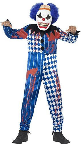Smiffy's Tween Boy's Deluxe Sinister Clown Costume, Jumpsuit, Foam Mask with Hair Attached, Serious Fun, Ages 12+, (Sinister Clown Costumes)