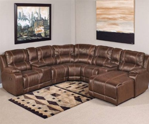 Amazon.com Laramie 7 Pc. Leather Reclining Sectional Sofa Kitchen u0026 Dining : 7 piece sectional couch - Sectionals, Sofas & Couches