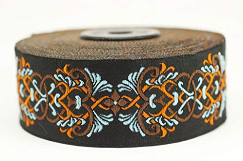 Celtic Trim Knot (35 mm Celtic Knot Design Orange&Blue Jacquard Trim, Middle Earth Inspired Ribbons (1.37 inches), DIY Sewing Supplies, Sewing Trim, Clothing, Fashion Ribbon (10 Meters/ 32.8 ft) (10 Meters/ 32.8 ft))