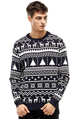 Classic Mens Ugly Christmas Sweater Fairisle Reindeer Funny Xmas Pullover Sweaters Sweatshirt for Women - Medium (Isle Xmas Jumper Fair)