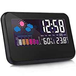 Indoor Wireless Digital Temperature Thermometer Hygrometer Alarm Clock, Large LCD Screen with Sound Activated Backlight