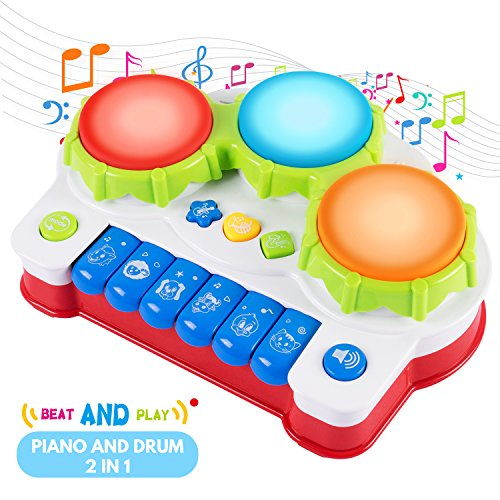 SGILE Musical Baby Toy, Keyboard Piano Drum Learning Toy with Light Sound, Birthday Present for Baby Infant Toddler