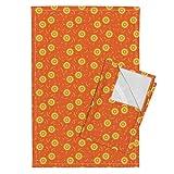 Floral Flower Blossom Orange Yellow Citrus Tea Towels Solar Floral by Robyriker Set of 2 Linen Cotton Tea Towels