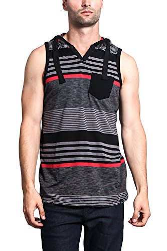 G-Style USA Striped Summer Sleeveless Hooded T-Shirt HV - BLACK/RED - 2X-Large - E14D