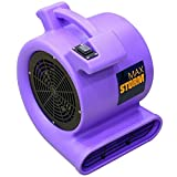 Max Storm 1/2 HP 2550 CFM Durable Lightweight Air Mover Carpet Dryer Blower Floor Fan for Pro Janitorial, Purple