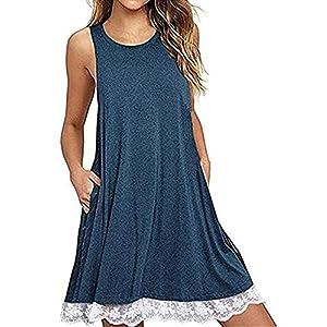 TLOOWY Women Summer Sleeveless Tank Dress Loose Lace Crochet Swing T-Shirt Dress Beach Sundress