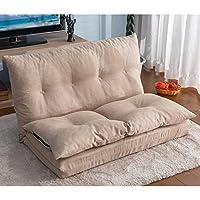 Merax Fabric Folding Chaise Lounge Floor Gaming Sofa Chair (Beige 1)