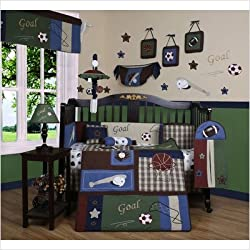 GEENNY Boy's 13 Piece Crib Bedding Set, Classic Sports