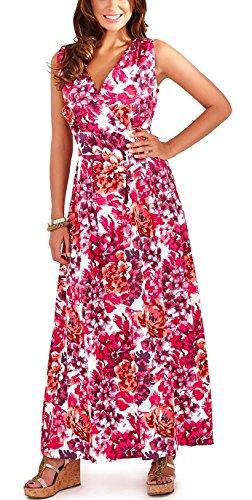 Pistacho Womens Floral jardín construido algodón vestido Purple - Pink