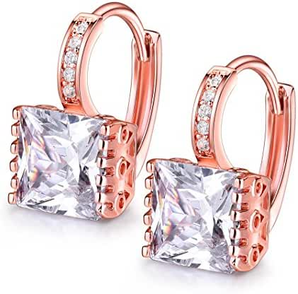 GULICX Fashion Jewelry Rose Gold Electroplated Square Princess Cut Zircon Huggie Hoop Earrings