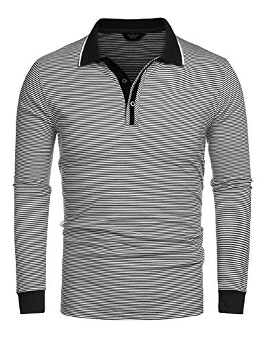 COOFANDY Men's Long Sleeve Polo Shirts Slim Fit Casual Stirped Cotton Golf T Shirt