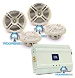 pkg 2 Pairs of Power Acoustik MF65WT 6.5'' Marine Speakers + JBL MA6004 4-Channel Class AB Bridgeable Marine Amplifier