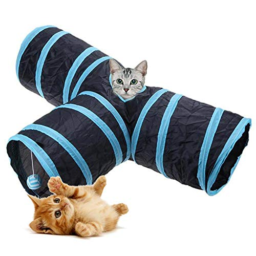 KOBWA 3 Way Cat Tunnel, Collapsible Cat Play Toy with Fun Ball, Crackle Paper Collapsible Tube Three Connected Run Road Way Tunnel for Puppy, Kitty, Kitten, Rabbit Games and Rest