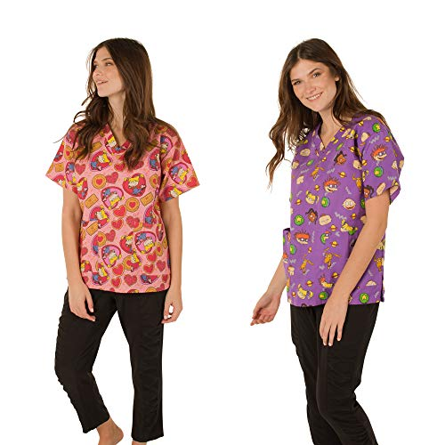 Nickelodeon Scrubs Shirt/Top Two Pack(Large, Rugrats Purple/Pink) ()