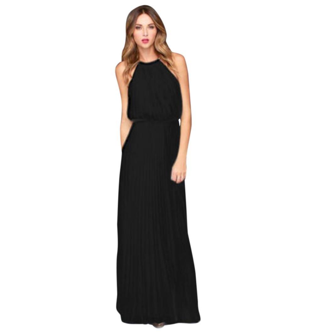Kimloog Womens Sleeveless Halter Ruched Chiffon Long Dress High Waist Summer Beach Maxi Sundress (L, Black) by Kimloog