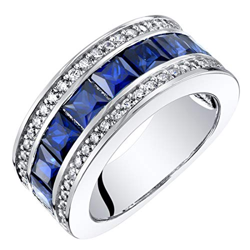 Sterling Silver Princess Cut Created Sapphire 3-Row Wedding Ring Band 2.5 Carats Size 9 (Sapphire Channel Ring)