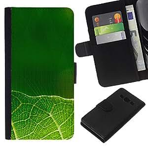 All Phone Most Case / Oferta Especial Cáscara Funda de cuero Monedero Cubierta de proteccion Caso / Wallet Case for Samsung Galaxy A3 // Green leaves