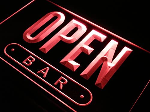 ADVPRO Cartel Luminoso j742-r Open Bar Beer Drink Cafe Shop ...